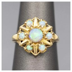 Glowing Blue Opal Victorian Cluster Ring in 10k Yellow Gold