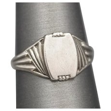 1920s Air Force Winged Signet Ring in Sterling Silver