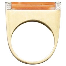 Sleek Modernist Coral and Diamond Ring in 14k Yellow Gold
