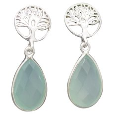 Pretty Tree of Life and Aqua Chalcedony Dangle Earrings in Sterling Silver