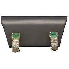 Classic J Hoop Emerald and Diamond Earrings in 14k Yellow Gold