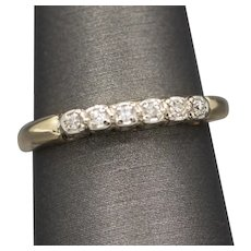 Vintage Diamond Wedding Band Ring in 14k White and Yellow Gold