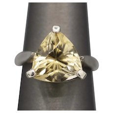 Trillion Cut Sparkling Golden Quartz Ring in Sterling Silver