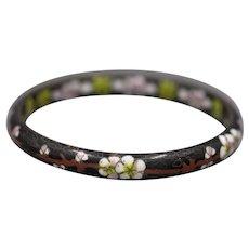 Vintage Chinese Cloissone' Cherry Blossom Bangle Bracelet
