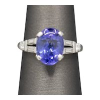 Vintage Oval Tanzanite and Diamond Ring in Platinum