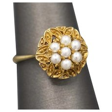 Vintage Pearl Cluster Ring in 17k Yellow Gold