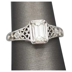 GIA Certified Emerald Cut Diamond Engagement Ring with Filigree Detail in 14k White Gold