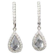 Rose Cut Diamond Teardrop Dangle Earrings in 14k White Gold