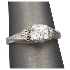 Art Deco Old European Cut Diamond Engagement Ring in 18k White Gold