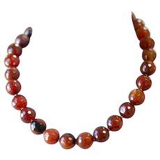 Handcrafted Faceted Carnelian Bead Necklace with Sterling Silver Toggle