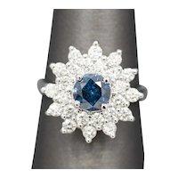 Blue and White Diamond Sunburst Engagement Ring in 18k White Gold