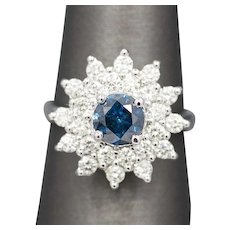 Blue and White Diamond Sunburst Engagement Ring in 18k White Gold