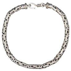 Vintage Men's Balinese Woven Bracelet in Sterling Silver