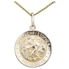 St. Christopher Protect Us Medal in 14k Yellow Gold