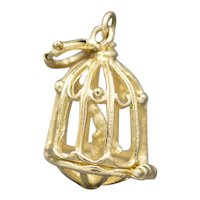 Vintage Bird in Birdcage Charm in 14k Yellow Gold