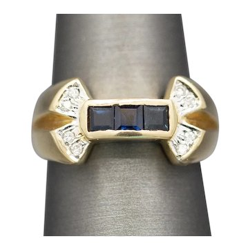Sapphire and Diamond Accent Bow Band Ring in 14k Yellow Gold