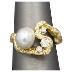 Brutalist Pearl and Diamond Organic Cocktail Ring in 14k Yellow Gold