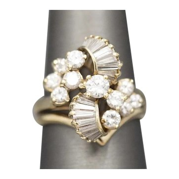 Fancy Diamond Cluster Ring with Round and Baguette Diamonds in 14k Yellow Gold