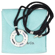 Tiffany an Co. Atlas Disc Necklace with Black Cord