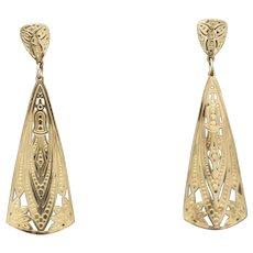 Art Deco Inspired Dangle Earrings in 14k Yellow Gold