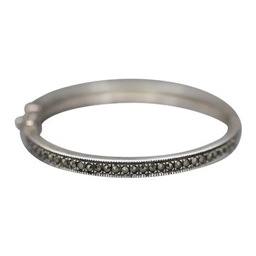 Sparkling Marcasite Hinged Bangle Bracelet in Sterling Silver