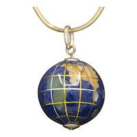 Vintage Gemstone Globe Pendant Charm in 14k Yellow Gold