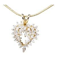 Sparkling Diamond Scatter Heart Pendant in 14k Yellow Gold