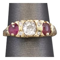 Victorian Ruby and Old Mine Cut Diamond Three Stone Ring in 14k Yellow Gold