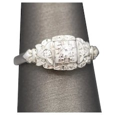 Antique Diamond Three Stone Filigree Engagement Ring in 14k White Gold