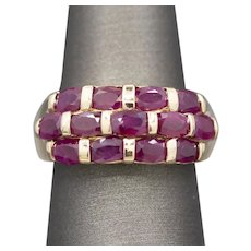 Vintage Natural Ruby Stacked Band Ring in 14k Yellow Gold