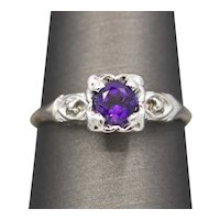 Vintage Amethyst Solitaire Engagement Ring in Two Tone White and Yellow Gold