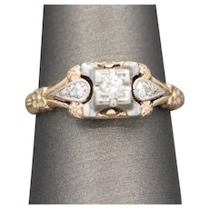 Art Deco Diamond Engagement Ring with Rose and White 14k Gold