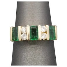 Vivid Natural Emerald and Diamond Band Ring in 14k Yellow Gold