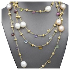 Marco Bicego Paradise 18k Multi-gemstone Layering Necklace 60""