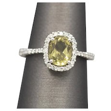 Sparkling Lime Green Quartz and Diamond Halo Ring in 14k White Gold