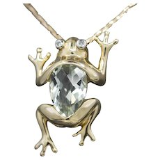 Darling Little Prasiolite and Diamond Frog Pendant in 10k Yellow Gold