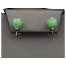 Gorgeous Green Jade 10mm Screwback Earrings in 10k Rose Gold