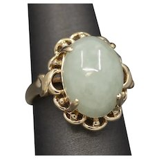 Vintage Celadon Jade Scalloped Cocktail Ring in 14k Yellow Gold