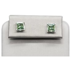 4.00ctw Princess Cut Green Moissanite and 14k White Gold Stud Earrings