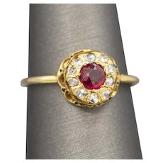Antique Ruby and Diamond Hat Pin Conversion Ring in 14k Yellow Gold