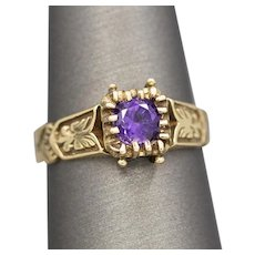 Victorian Revival Amethyst Ring with Engraved Details in 14k Yellow Gold