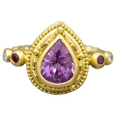 Designer Pink Spinel Ruby and Diamond Cocktail Ring in 18k and 22k Gold