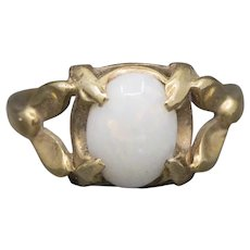 Vintage Arts and Crafts Opal Ring in 14k Yellow Gold