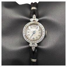 Vintage Platinum and Diamond Round Watch with Cord Bracelet