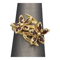 Vintage Garnet Double Flower Ring in 14k Yellow Gold