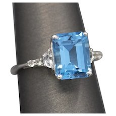 Vibrant Blue and White Topaz Statement Ring in 10k White Gold
