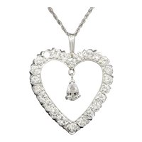 Bold Diamond Heart Pendant with Dangling Pear Cut Diamond in 14k White Gold