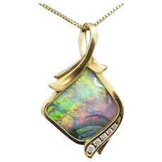 Australian Boulder Opal and Diamond Pendant in Solid 18k Yellow Gold