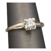 Vintage Diamond Solitaire Engagement Ring in Yellow Gold