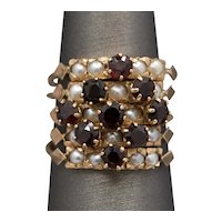 Vintage Bohemian Garnet and Pearl Five Band Stackable Ring Set in Rose Gold